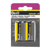 Diall Alkaline 9V Batteries 4 Pack