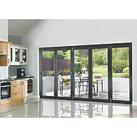 JCI Limited  5-Door Satin Painted Anthracite Grey Wooden Bi-Fold Patio Door Set 2090 x 3590mm