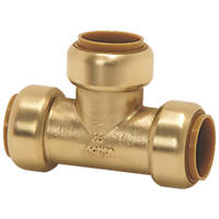 Tectite Classic  Brass Push-Fit Equal Tee 22mm