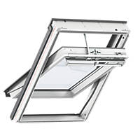 Velux CK02 Mains Electric Centre-Pivot White Polyurethane Wrapped Integra Roof Window Clear 550 x 780mm