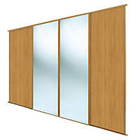 Spacepro Classic 4 Door Sliding Wardrobe Door Kit Oak / Mirror 2978 x 2260mm