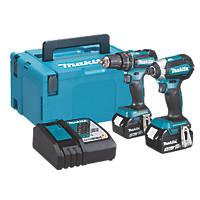 Makita DLX2283TJ 18V 5.0Ah Li-Ion LXT Brushless Cordless Combi Drill & Impact Driver Twin Pack