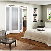 Jeld-Wen Room Fold 3-Door 1-Obscure Light Primed White Wooden 1-Panel Shaker Internal Bi-Fold Room Divider 2047 x 1929mm