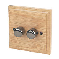 Varilight V-Pro 2-Gang 2-Way LED Dimmer Switch  Classic Oak