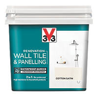 V33 Wall Tile & Panelling Paint Satin Cotton Off-White 750ml