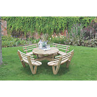 Forest Circular Garden Picnic Table with Seat Backs 2460 x 2460 x 820mm