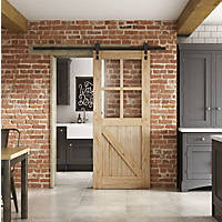 Jeld-Wen  4-Clear Light Unfinished Mindi Oak Wooden Cottage Internal Sliding Barn Door 2073 x 862mm