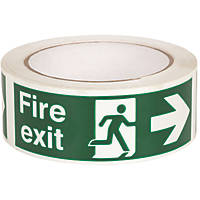 Nite-Glo Fire Exit Right Tape Green & White 40mm x 10m