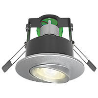 4lite WiZ Connected Adjustable  Fire Rated LED Smart Downlight Satin Chrome 4.9W 345lm