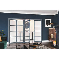 Jeld-Wen Room Fold 4-Door 4-Clear Light Painted Grey Wooden 4-Panel Shaker Internal Bi-Fold Room Divider 2047 x 2545mm