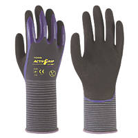 Towa ActivGrip CJ-568 Nitrile Finger Coated Gloves Black/Purple Medium