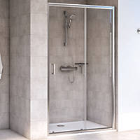 Aqualux Edge 6 Sliding Shower Door Polished Silver 1000 x 1900mm