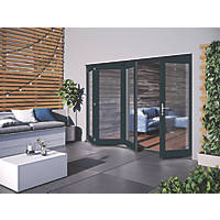 Jeld-Wen Bedgebury 4-Door Satin Painted Grey Wooden Slide & Fold Patio Door Set 2094 x 2994mm