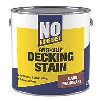 No Nonsense Anti-Slip Quick-Drying Decking Stain Dark Mahogany 2.5Ltr