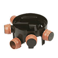 FloPlast 5-Inlet Inspection Chamber Base Black 290mm