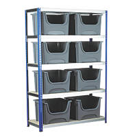Shelving with 8 x Space Bins Containers Silver/Blue 1200 x 450 x 1800mm