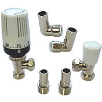 """Myson 2-Way & Matchmate Nickel / White Angled Push-Fit TRV & Lockshield with 90° Elbow 15mm x ½"""""""