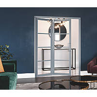 Jeld-Wen Room Fold 2-Door 4-Clear Light Painted Grey Wooden 4-Panel Shaker Internal Bi-Fold Room Divider 2047 x 1319mm
