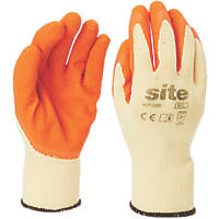 Site KF380 Latex Builders Gloves Orange / Yellow  Medium