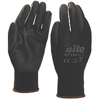 Site KF120 PU Palm Dip Gloves Black X Large