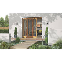 Jeld-Wen Canberra 3-Door Stained Golden Oak Wooden Slide & Fold Patio Door Set 2094 x 2394mm