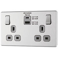LAP  13A 2-Gang DP Switched Socket + 4.2A 2-Outlet Type A & C USB Charger Brushed Stainless Steel with Graphite Inserts