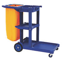 Blue 3-Shelf Cleaning Trolley with Bag