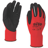 Site KF320 Nitrile Foam-Coated Gloves Red / Black Small