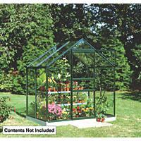 Halls Popular Greenhouse Green Toughened Glass 6' x 4'