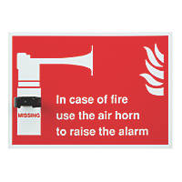 """Gas Horn Missing"" Sign 350 x 250mm"