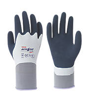 Towa ActivGrip XA-326 Latex Fully-Coated Gloves Blue/Grey Large