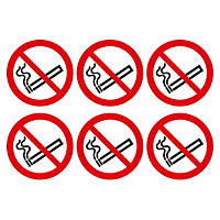 No Smoking Symbol Adhesive Labels 100mm 100 x 100mm 30 Pack