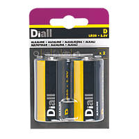 Diall Alkaline D Batteries 2 Pack