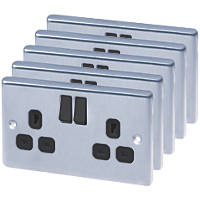 LAP  13A 2-Gang SP Switched Plug Socket Brushed Stainless Steel  with Black Inserts 5 Pack