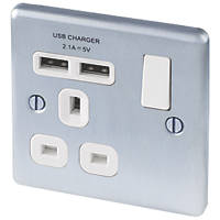 LAP  13A 1-Gang SP Switched Socket + 2.1A 2-Outlet USB Charger Brushed Stainless Steel with White Inserts