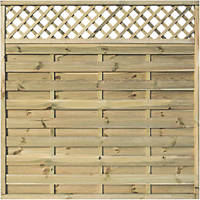 Rowlinson Halkin Double-Slatted Lattice Top Fence Panel 6 x 6' Pack of 3