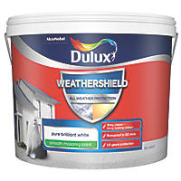 Dulux Weathershield Smooth Masonry Paint Pure Brilliant White 10Ltr