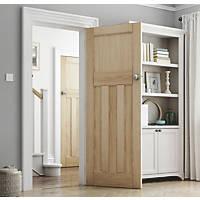 Jeld-Wen Deco Unfinished Oak Veneer Wooden 3-Panel Internal Door 1981 x 762mm