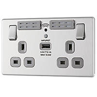 LAP  13A 2-Gang SP Switched Wi-Fi Extender Socket + 2.1A 1-Outlet Type A USB Charger Brushed Stainless Steel with Graphite Inserts