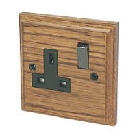 Varilight  13AX 1-Gang DP Switched Plug Socket Medium Oak  with Black Inserts