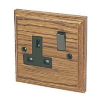 Varilight  13AX 1-Gang DP Switched Plug Socket Medium Oak  with Black Inserts