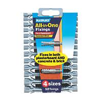 Plasplugs All-in-One Wall Plugs 52 Pcs