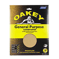 Oakey  Glass Paper Unpunched 280 x 230mm 70 Grit 5 Pack