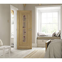Jeld-Wen Mackintosh 4-Semi-Translucent Light Unfinished Oak Veneer Wooden 4-Panel Internal Door 1981 x 686mm