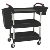 Proplaz Plus  Black 3-Shelf Tub Trolley with Bins