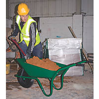 Walsall Easiload Pneumatic Wheels Builders Wheelbarrow Green 85Ltr
