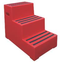 Polyethylene 3-Step Safety Steps 620mm Red