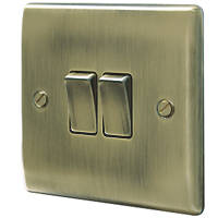 British General Nexus Metal 10AX 2-Gang 2-Way Light Switch  Antique Brass