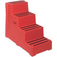 Polyethylene 4-Step Safety Steps 820mm Red