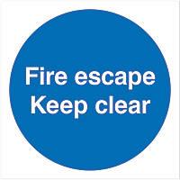 """""""Keep Clear"""" Fire Door Sign 100 x 100mm"""